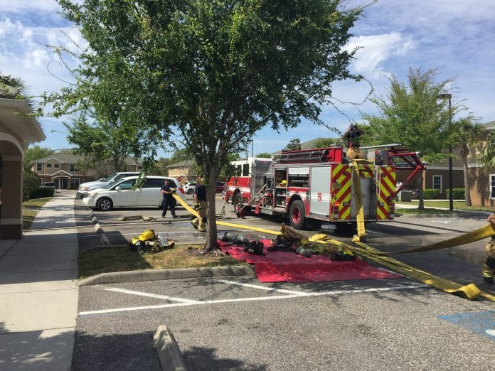 HCFR on the scene of a fire at an apartment complex in Spring Hill