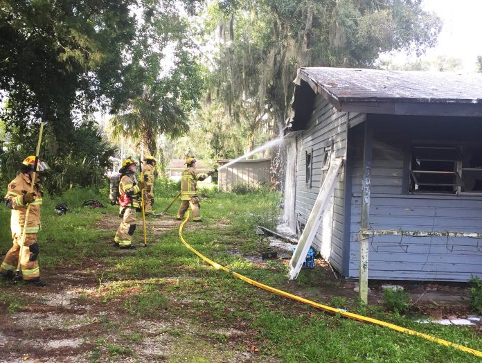 HCSO firefighters bring the fire under control.