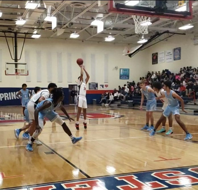 Free throw attempt by Springstead's Felix Gamboa