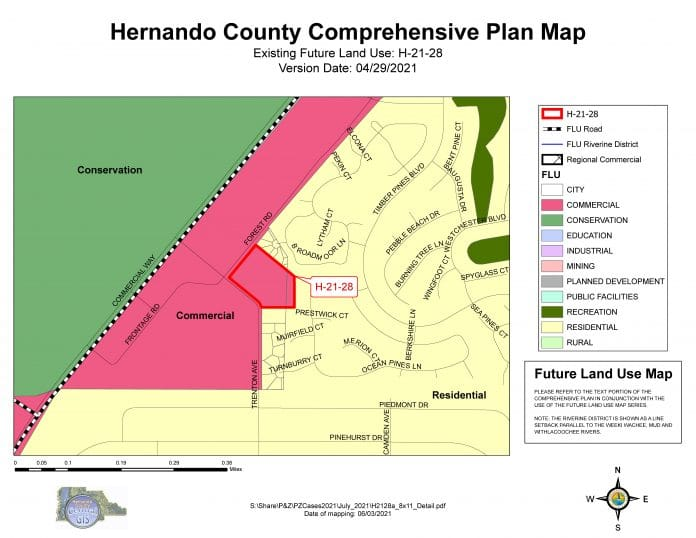 Hernando County Comprehensive Plan Map of Subject Parcel and surrounding properties.