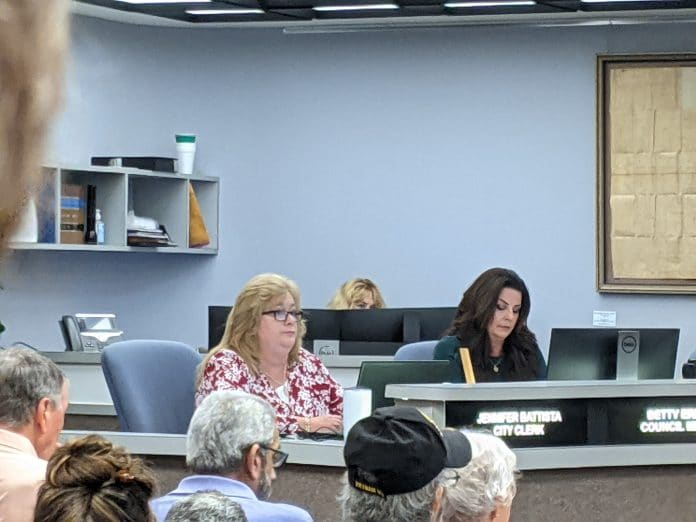 Councilwoman Betty Erhard, right, during a recent council meeting.