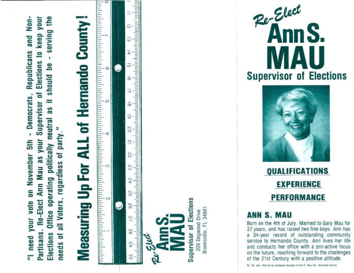 Re-election campaign flyer for Ann Mau who served as Supervisor of Elections in the 1990's