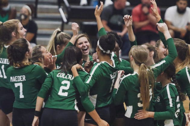 The Lady Hornets celebrate a point gained against Nature Coast Tech during the volleyball match on Tuesday, Sept. 21, 2021 at Nature Coast Tech. Photo by Alice Mary Herden