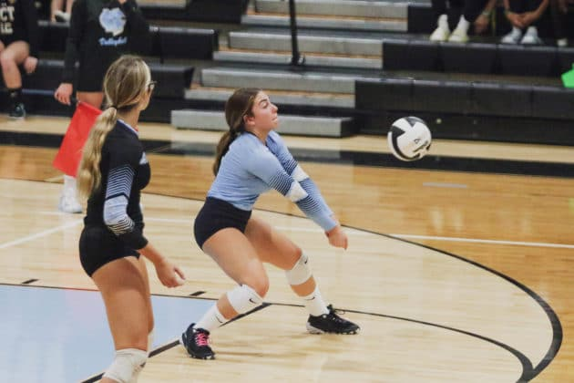 Sharks Adriana Tirado (5) bumps the ball during the volleyball match against Weeki Wachee on Sept. 21, 2021 at Nature Coast Tech. Photo by Alice Mary Herden
