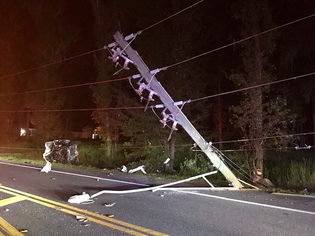 Pickup crashed into power pole. Photo courtesy of the Hernando County Sheriff's Office.